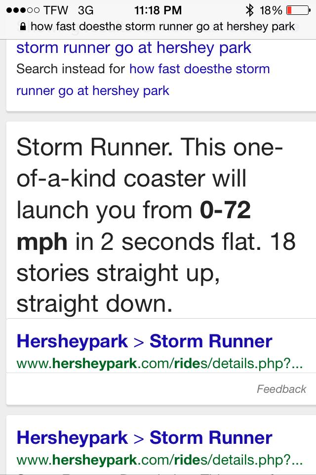 Storm Runner 0-72 mph in 2 seconds